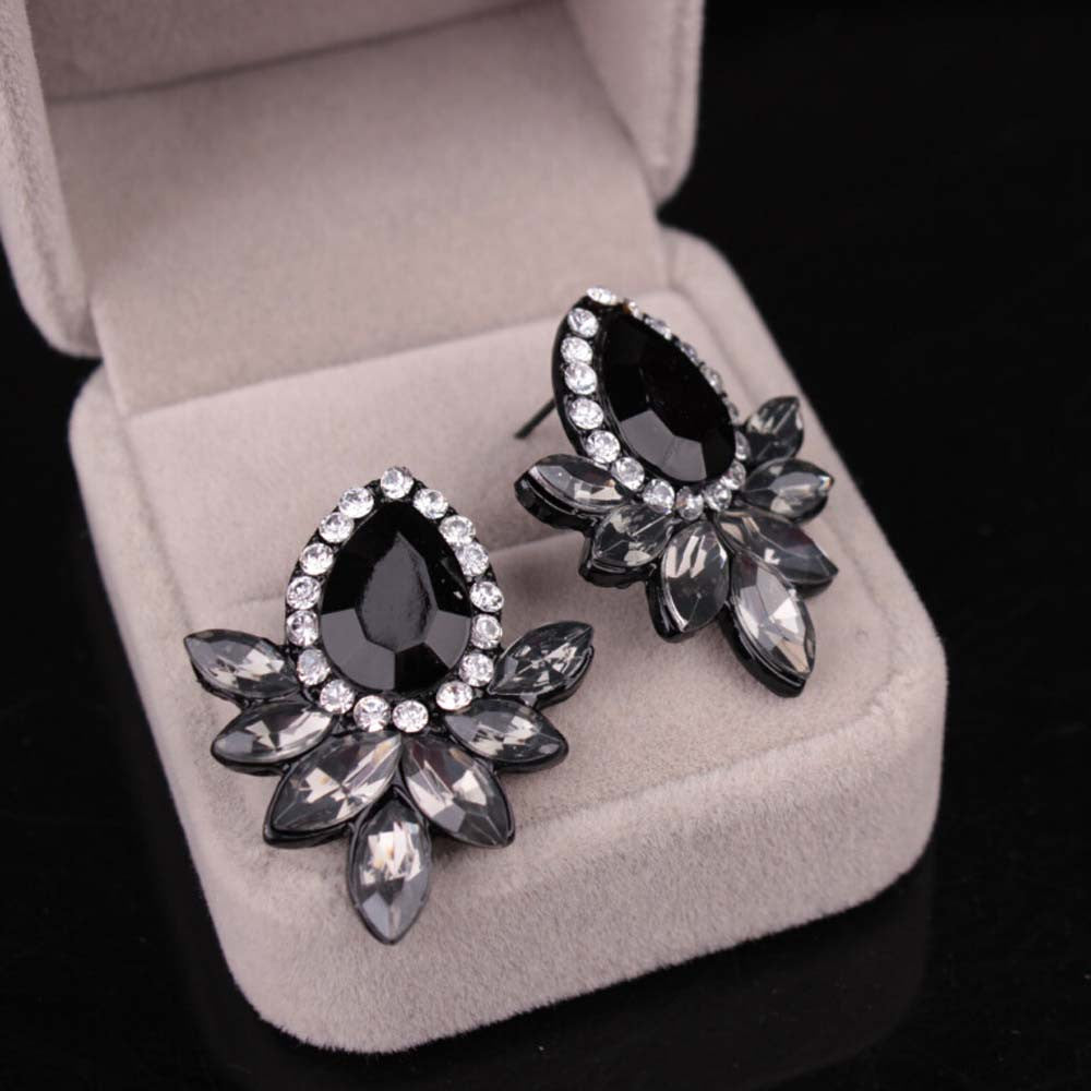 Rhinestone Gray/Pink Earrings