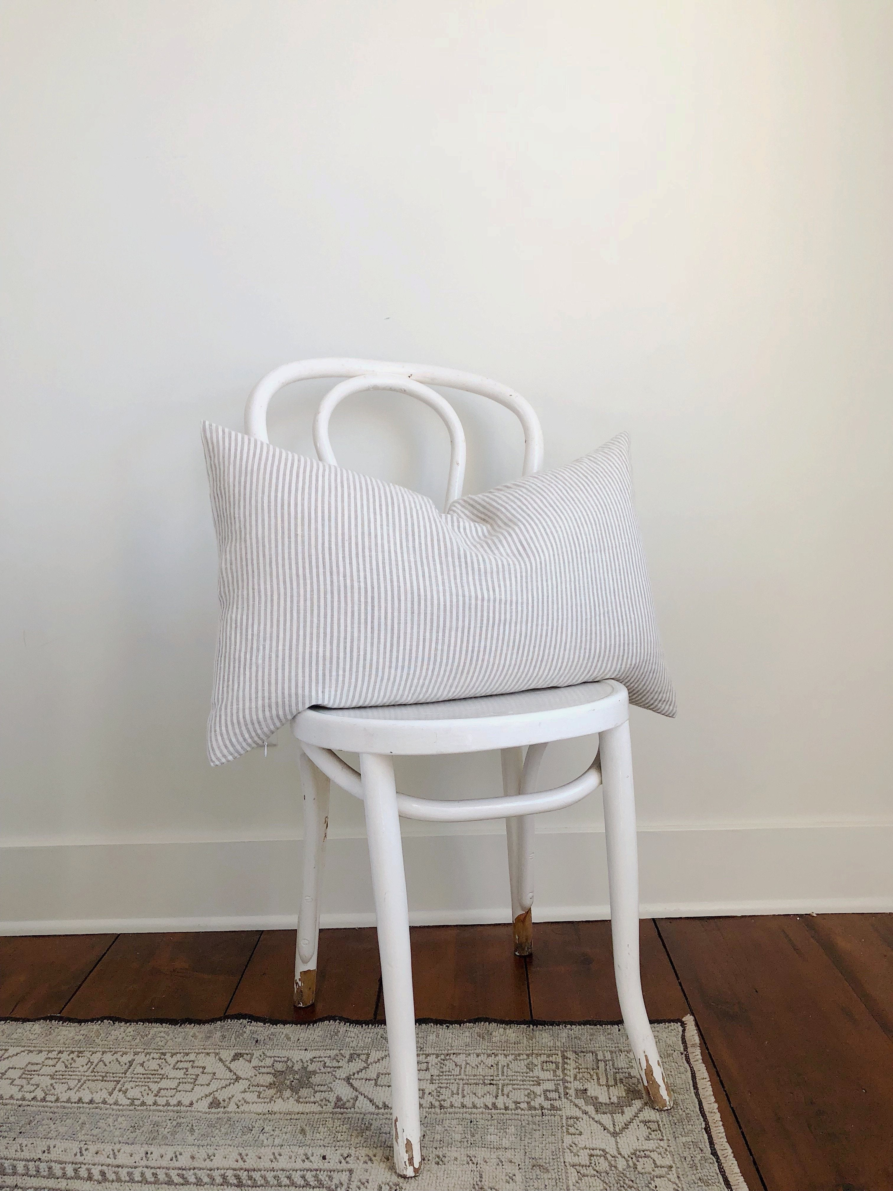 stripe pillow, decorative pillow, linen decorative pillow