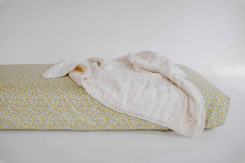 Golden Floral Crib Sheet