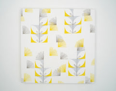Fugi Floral 18x18 Wall Print - white, canary yellow, sky blue - Outlet Item (Condition: Opened box)