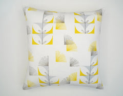 Fugi Floral 18x18 Pillow - white, canary yellow, sky blue - Outlet Item (Condition: Opened box)