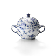 Blue Fluted Half Lace Sugar Bowl