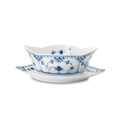 Blue Fluted Half Lace Sauce Boat