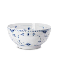 Blue Fluted Half Lace Large Salad Bowl