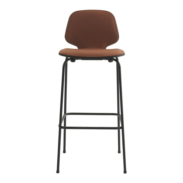 My Chair Bar/Counter Stool - Black Metal Base - Front Upholstered