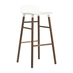 Form Barstool - Wood Legs w/ Wooden Footrest - White/Walnut/Counter Height