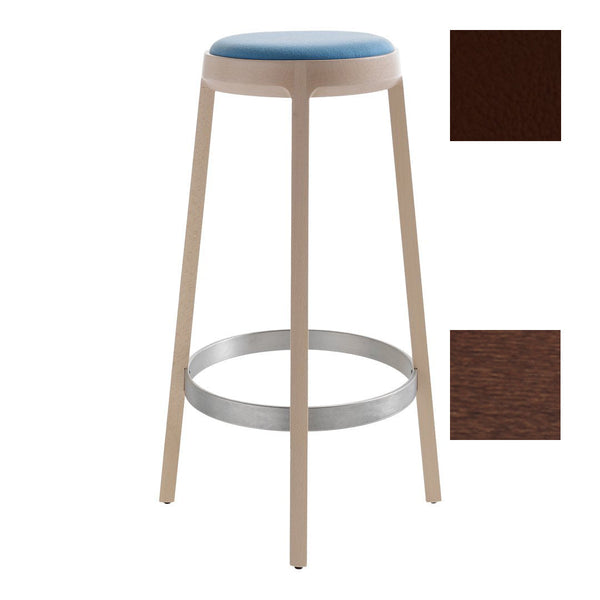 "Aro 699 Bar Stool - Valencia Buche 0033 / T-22 Stain / Bar Height: 30.7"" H - Outlet"