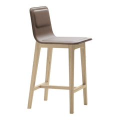 Laia Counter Stool High Back - Front Upholstered, Back in Natural Felt
