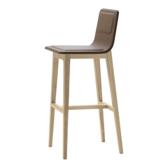 Laia Bar Stool High Back - Front Upholstered, Back in Natural Felt