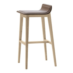 Laia Bar Stool Low Back - Front Upholstered, Back in Natural Felt