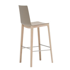 Andreu World Flex High Back Barstool - 4-Leg Beech Wood Base, Thermo-Polymer Seat