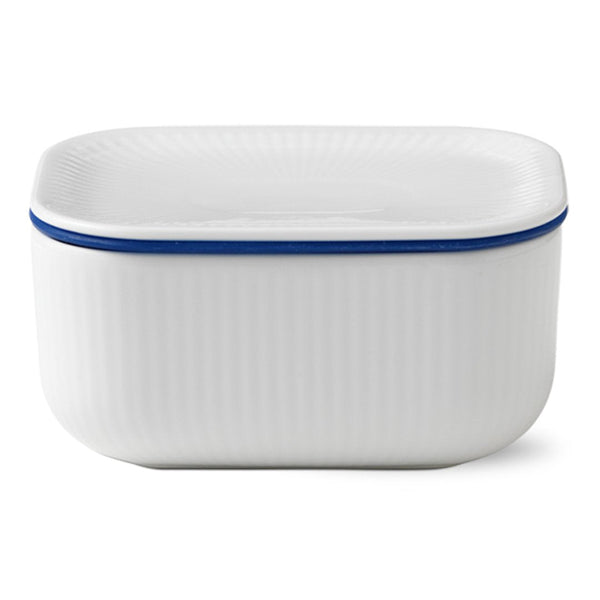 White Fluted Plain Butter Jar w/ Lid