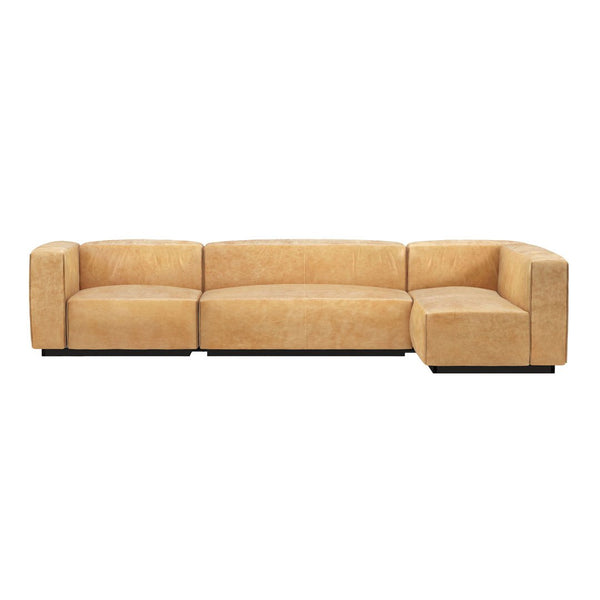 Cleon Medium+ Leather Sectional Sofa
