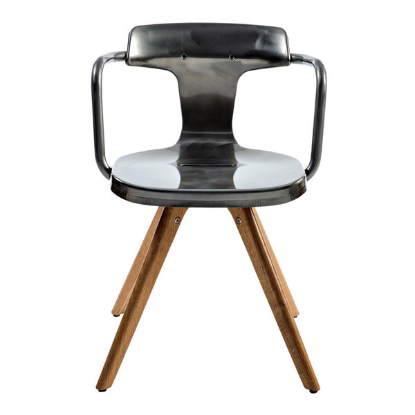 Tolix T14 Chair - Iroko Legs - Outdoor