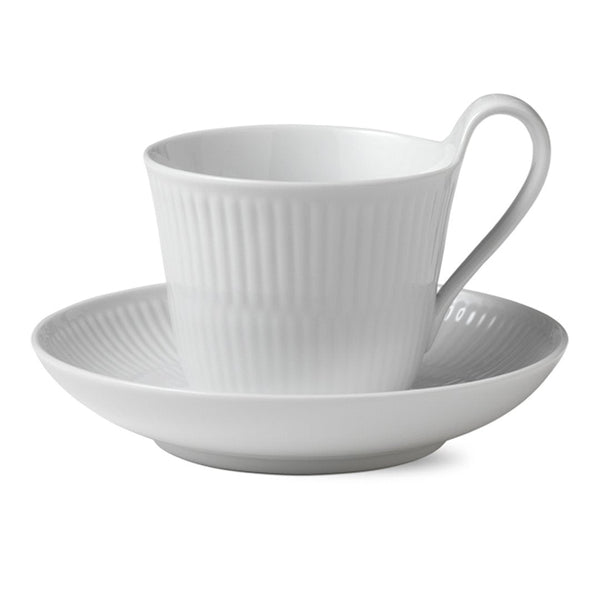 White Fluted Plain Cups & Saucers