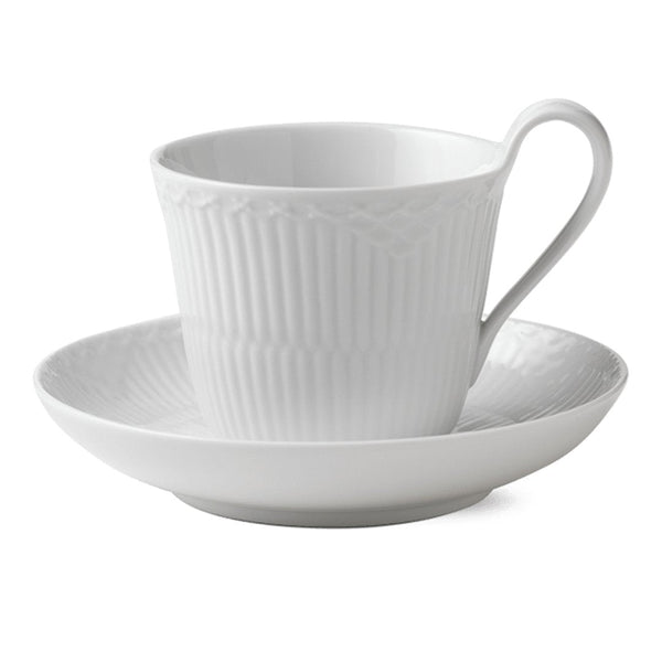 White Fluted Half Lace Cups & Saucers