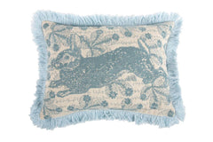 Transferware Bunny Embroidered Pillow