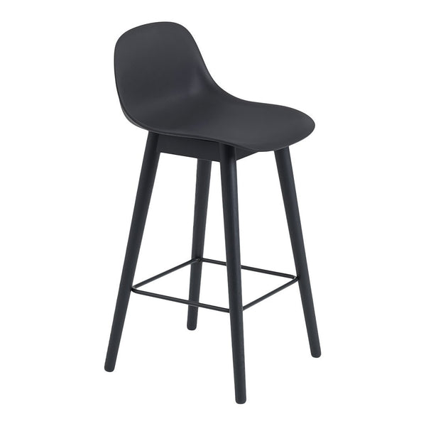 "Fiber Counter Stool (25.6"" SH) w/ Backrest - Wood Base"