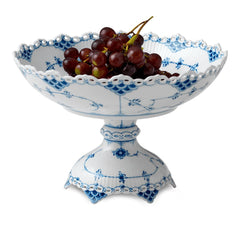 Blue Fluted Full Lace Footed Compote