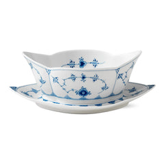 Blue Fluted Plain Gravy Boat w/ Stand