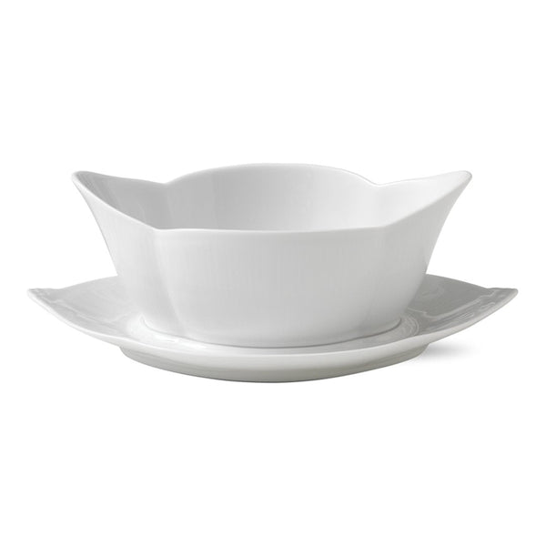White Fluted Plain Gravy Boat w/ Stand
