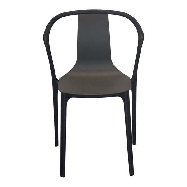 Belleville Armchair Outdoor W/ Plastic Shell / Unupholstered - Base Deep Black/ Shell Basalt - Showroom