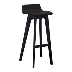 Morph Bar Stool - Black Leather / American Walnut / Bar Height - Outlet
