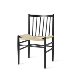 mater J80 Chair - Black Stained Oak Frame, Natural Wicker Seat