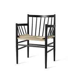 mater J81 Armchair - Black Stained Oak Frame, Natural Wicker Seat