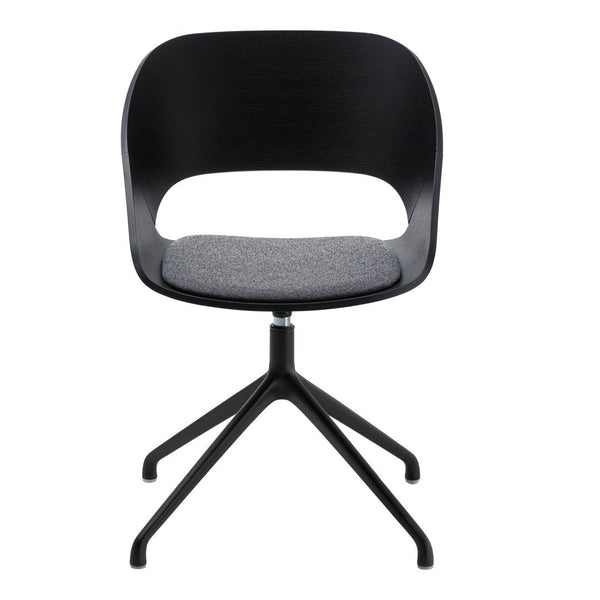 Kabira Wood Armchair - Black Painted Spider Base - Fixed Cushion