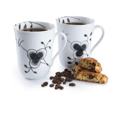 Black Fluted Mega Mug - Set of 2