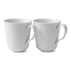 White Fluted Plain Mugs - Set of 2
