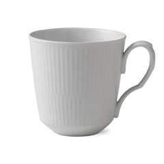 White Fluted Plain Mugs w/ Handles