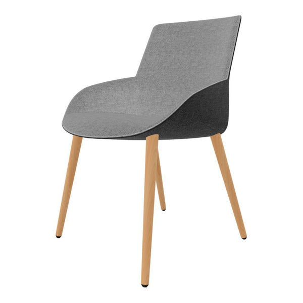 Noom Series 30 Bicolor Armchair - Conical Wood Legs
