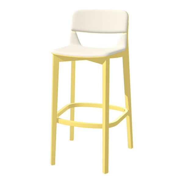 Leaf Barstool w/ Backrest - Seat Upholstered - Oak Pigment Frame