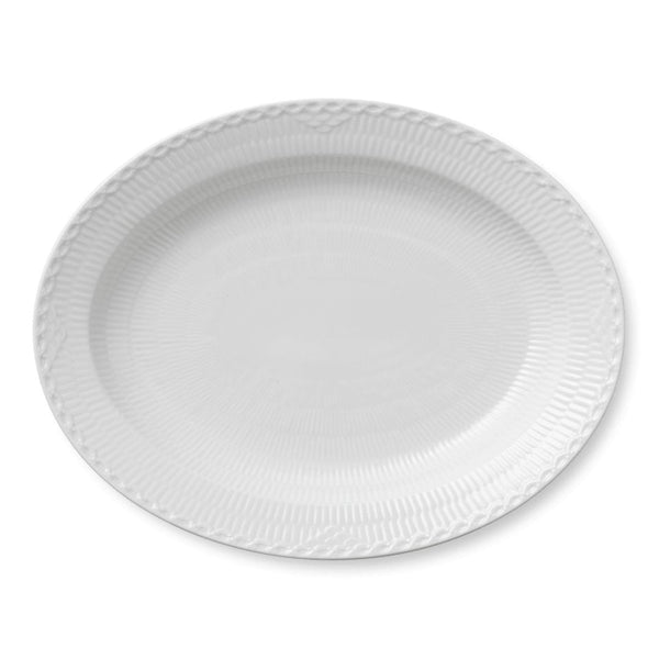White Fluted Half Lace Serving Dishes