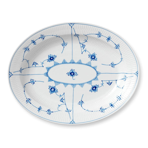 Blue Fluted Plain Oval Serving Dishes