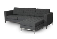 ION Design Drake Sectional - 04616 Grey Fabric with Stainless Steel Legs - LAF Chaise