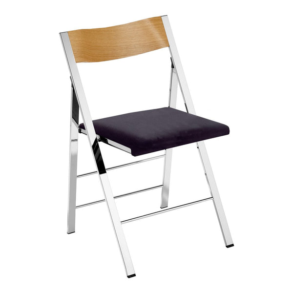 Pocket Wood Chair - Chromed Steel - Seat Upholstered