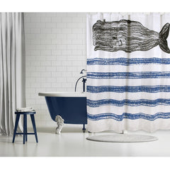 Whale Sketch Shower Curtain