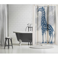 Thomas Paul Giraffe Etching Shower Curtain - Cerulean