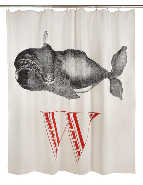 Scrimshaw W Whale Shower Curtain