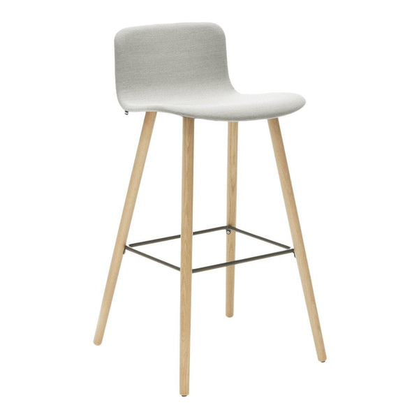 Sola Bar Stool - 4 Leg Low Backrest Wood Base - Fully Upholstered