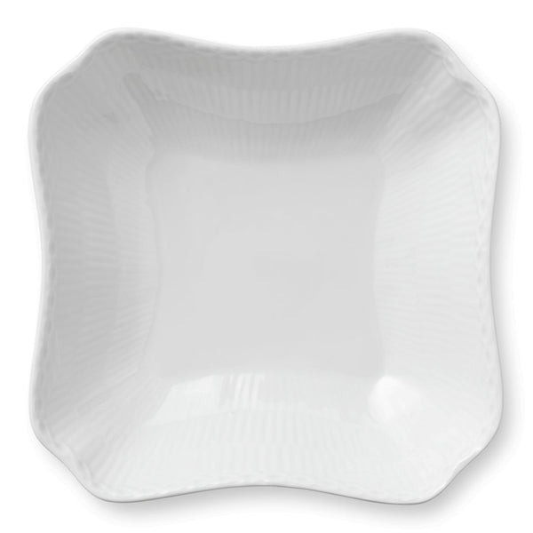 White Fluted Half Lace Square Serving Bowl