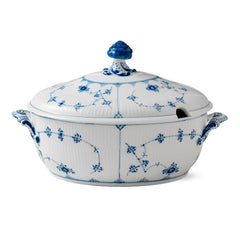 Blue Fluted Plain Tureen w/ Lid