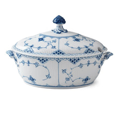 Blue Fluted Half Lace Tureen
