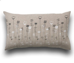 Flower Bed Pillow - 12 X 20 - color: natural linen/black + white artwork - Outlet Item (Condition: Opened box)