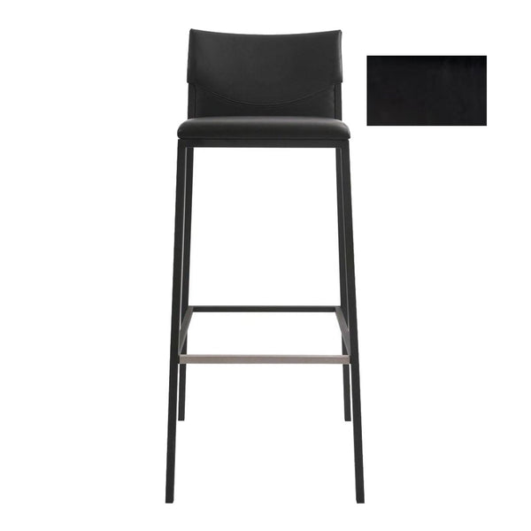 "Unit Upholstered Stool - Dakota Black Leather 6008 / Black Matte Structured / Bar Height (40.95"" H) - Outlet"
