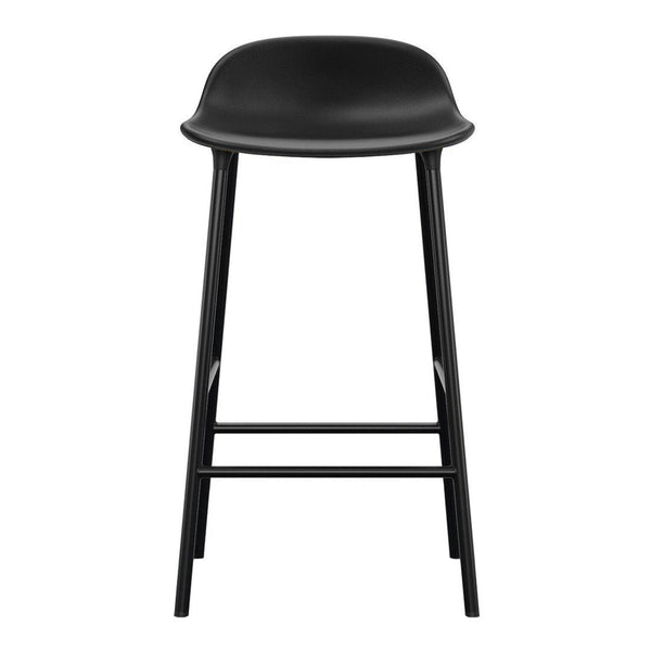 Form Counter Stool - Metal Legs - Upholstered - Leather Ultra Black 41599 / Steel - Black - Outlet