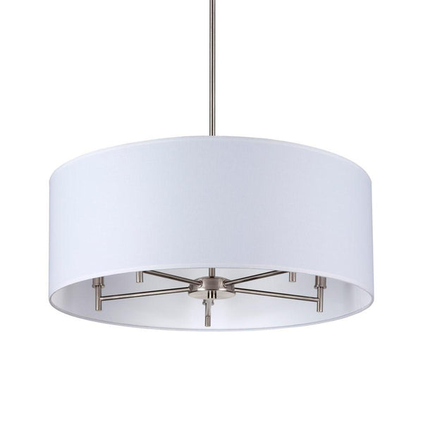 Chandeliers - Walker 5-Arm Drum Chandelier - Brushed Nickel Finish, White Linen Shade Outlet Item (Condition: Opened Box)